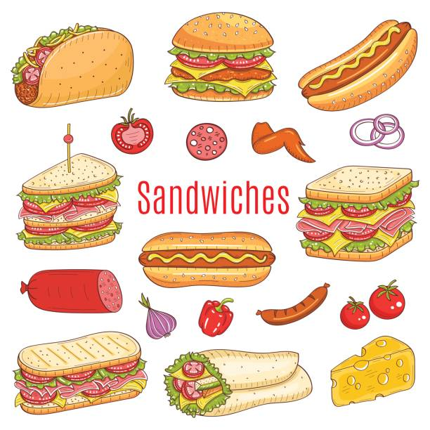 sandwich-set, skizze vektorgrafik - sandwiches stock-grafiken, -clipart, -cartoons und -symbole