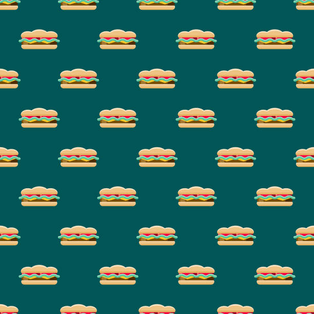 sandwich street food seamless pattern - sub sandwich stock illustrations, clip art, cartoons, & icons
