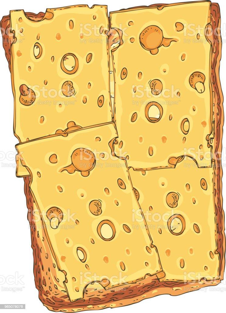 Sandwich. Toasted Sliced Bread with Cheese sandwich toasted sliced bread with cheese - stockowe grafiki wektorowe i więcej obrazów artykuły spożywcze royalty-free