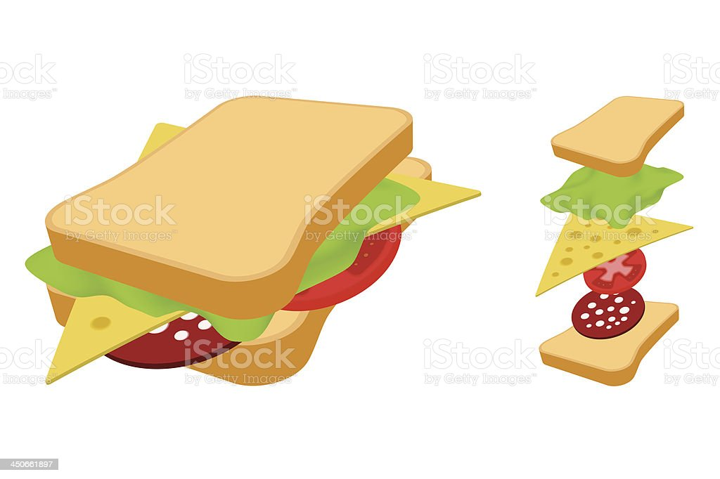 Sandwich. royalty-free sandwich stock vector art & more images of appetizer