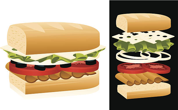 sandwich - sub sandwich stock illustrations, clip art, cartoons, & icons