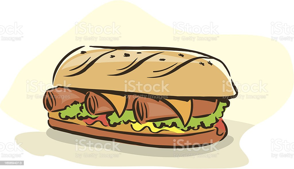 Sandwich (sub or grinder) w/ Meat & Cheese royalty-free stock vector art