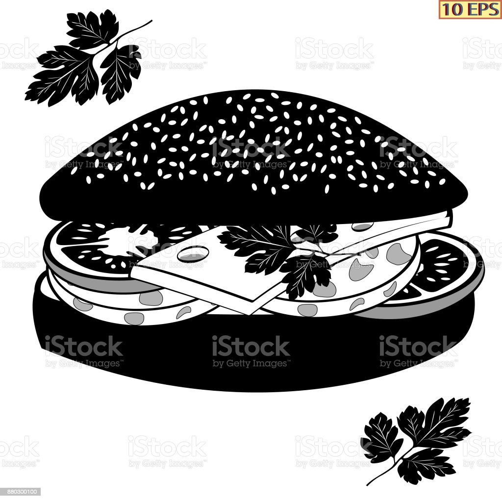 Black sausage in white buns