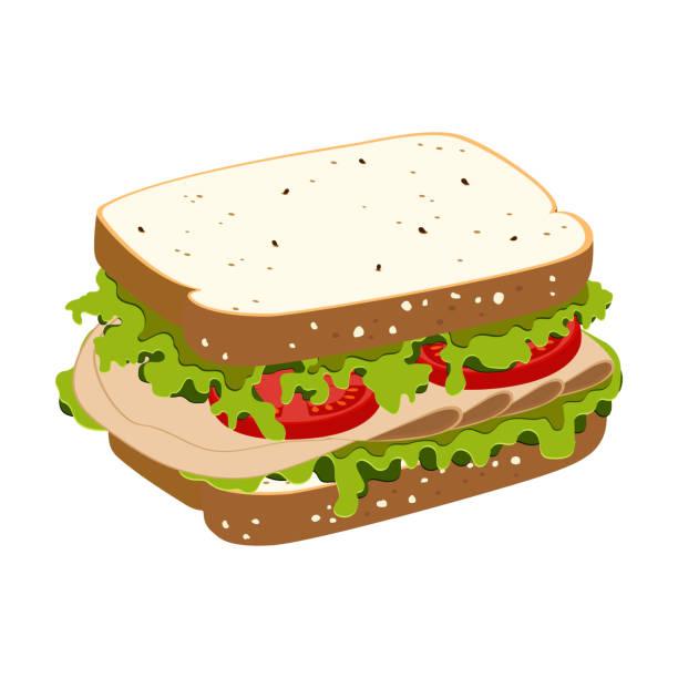 illustrazioni stock, clip art, cartoni animati e icone di tendenza di sandwich with ham - panino