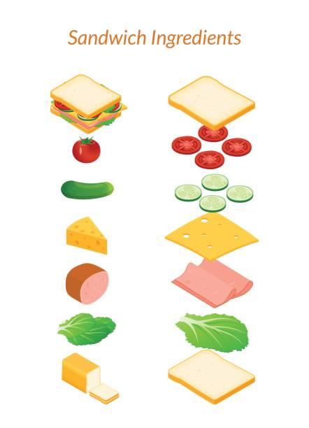 illustrazioni stock, clip art, cartoni animati e icone di tendenza di sandwich with ingredients sliced and whole - panino