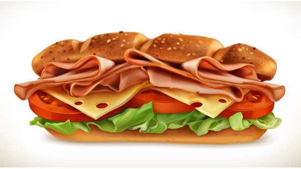illustrazioni stock, clip art, cartoni animati e icone di tendenza di sandwich with meat and cheese - panino
