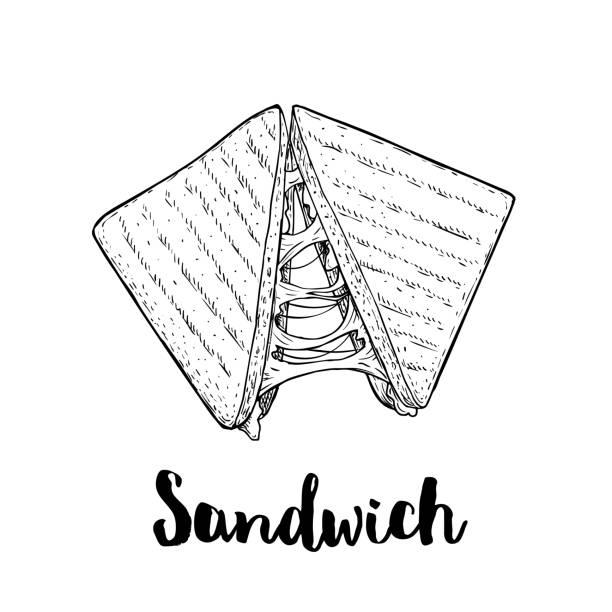 bildbanksillustrationer, clip art samt tecknat material och ikoner med smörgås med smält ost. grillad snabb eller gatumat. lunch restaurang meny. handritad skiss stil illustration isolerad på vit bakgrund. - cheese sandwich