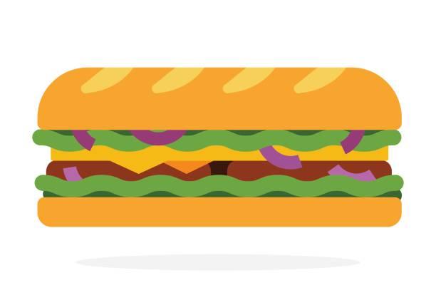 illustrazioni stock, clip art, cartoni animati e icone di tendenza di sandwich with salad, onion, bacon - panino