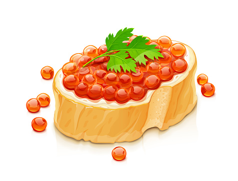 Sandwich with salmon caviar. Delicacy fish food,