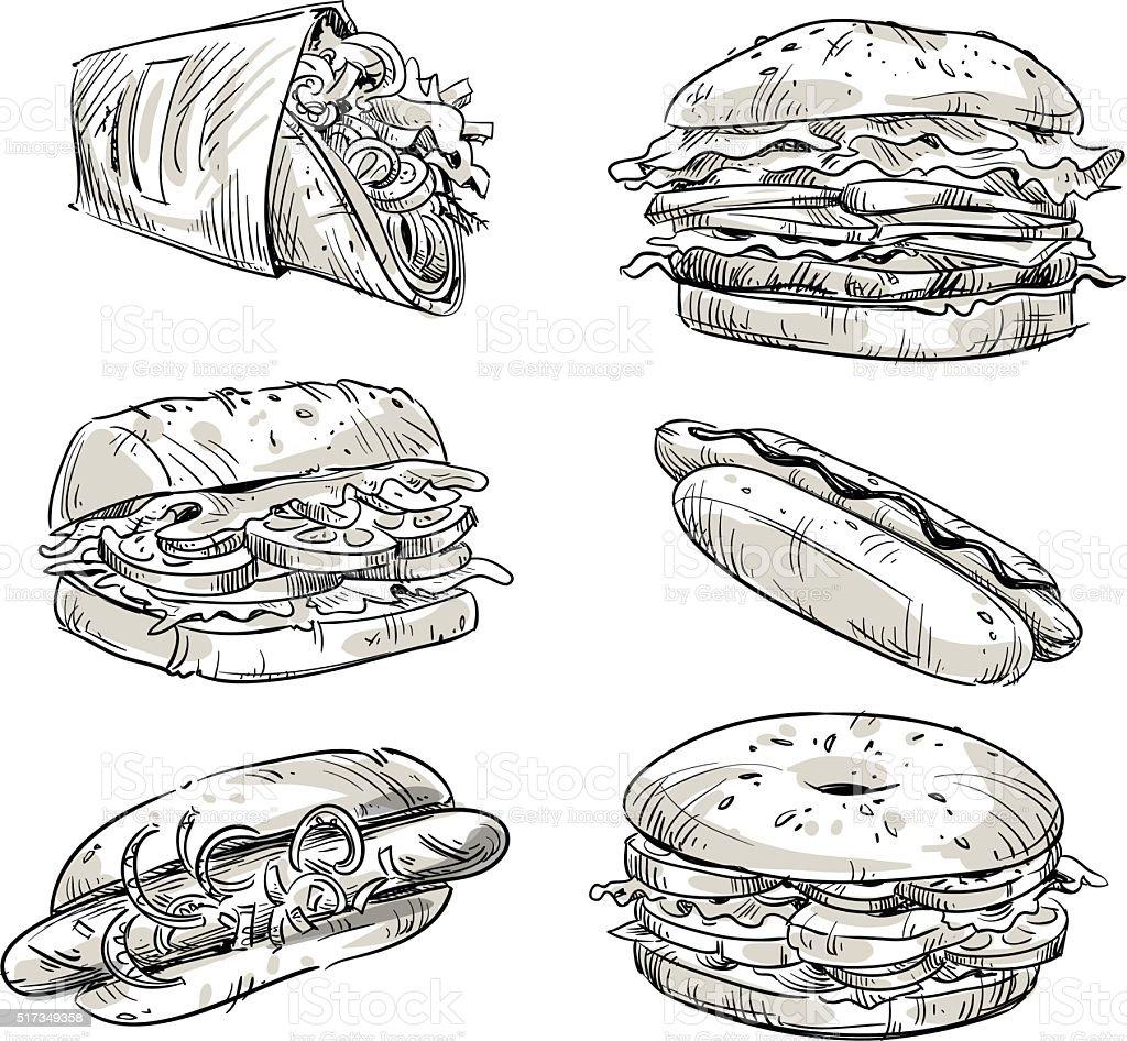 Sandwiches. Fast food. Snacks. Vector sketch. vector art illustration