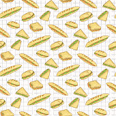 Sandwiches on Tablecloth Seamless Vector Pattern, Hand Drawn Food