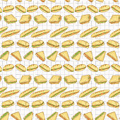 Sandwiches Set Stripes Seamless Vector Pattern, Hand Drawn