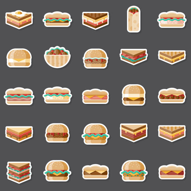 sandwiches sticker set - sub sandwich stock illustrations, clip art, cartoons, & icons