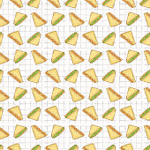 Sandwiches Triangles Seamless Vector Pattern, Hand Drawn