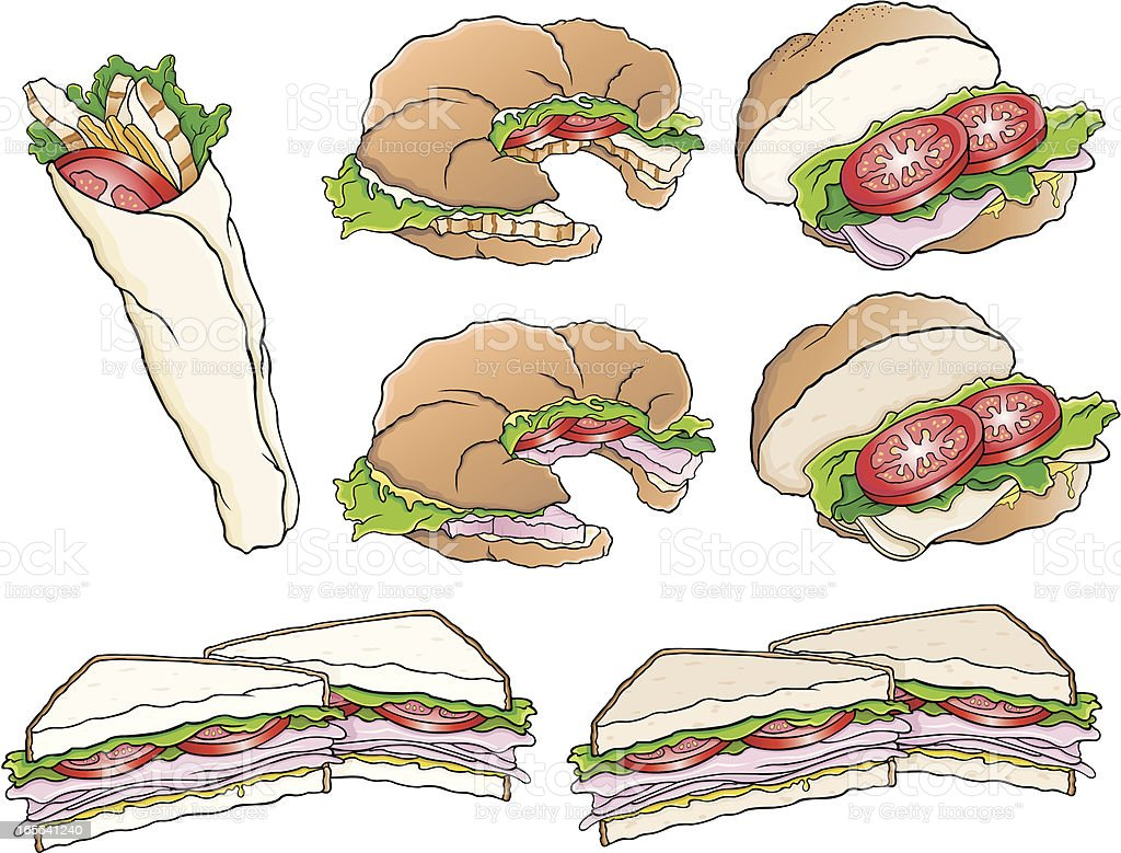 Sandwiches variety royalty-free stock vector art