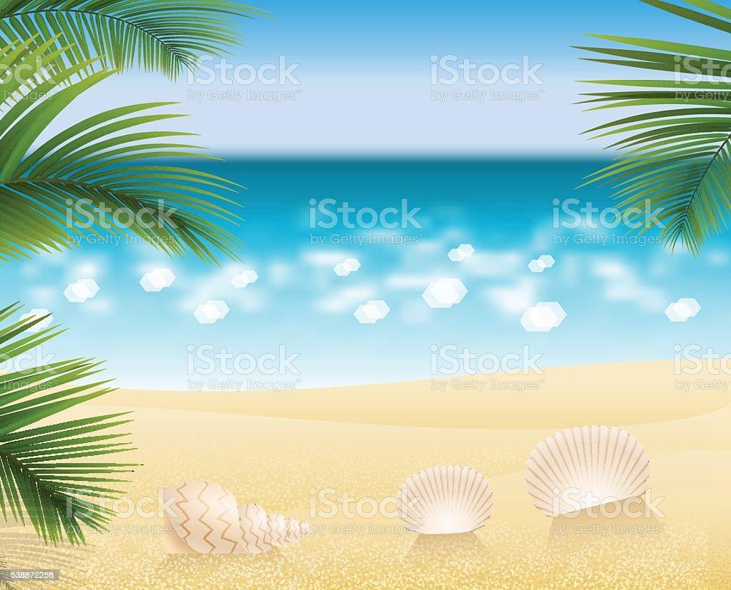 Sandy beach cost ocean vector art illustration