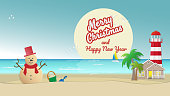 Sandy snowman on sea beach with house lighthouse palm trees and full moon backgrounds. Holiday travel concepts can be used for New Year's and Christmas Cards in tropical countries Vector illustration.