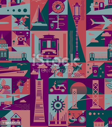 San-Francisco pattern seamless design. Decoration textile and paper series