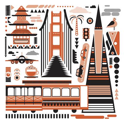 San-Francisco pattern simple illustration on white background