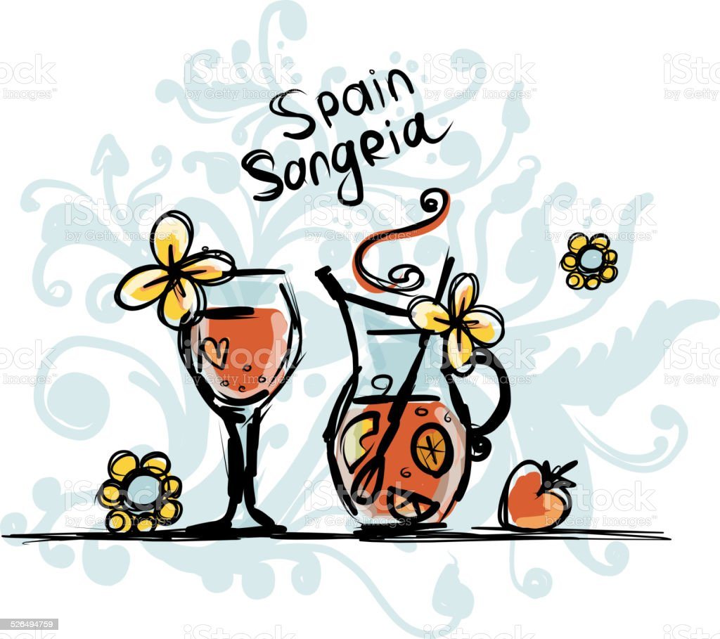 Sangria Spanische Getränke Skizze Für Ihr Design Stock Vektor Art ...