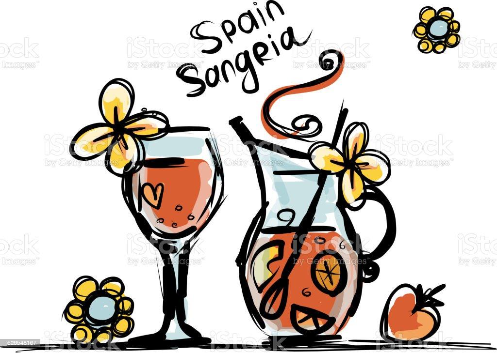 Sangria Spanische Getränke Skizze Für Ihr Design Vektor Illustration ...