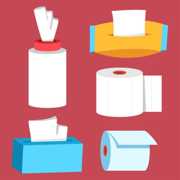 ilustrações de stock, clip art, desenhos animados e ícones de sanitary and toilet paper vector cartoon set isolated on background. - tape face