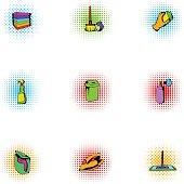 Sanitary day icons set, pop-art style