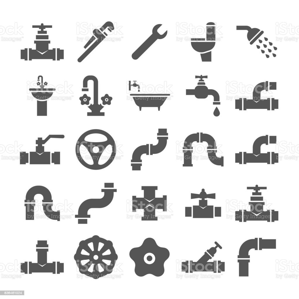 Sanitary engeneering, valve, pipe, plumbing service objects icons collection vector art illustration