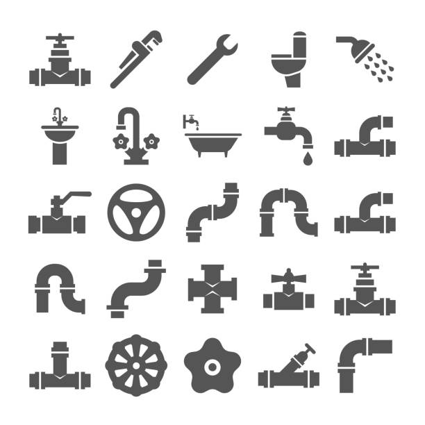 sanitary engeneering, valve, pipe, plumbing service objects icons collection - plumber stock illustrations, clip art, cartoons, & icons