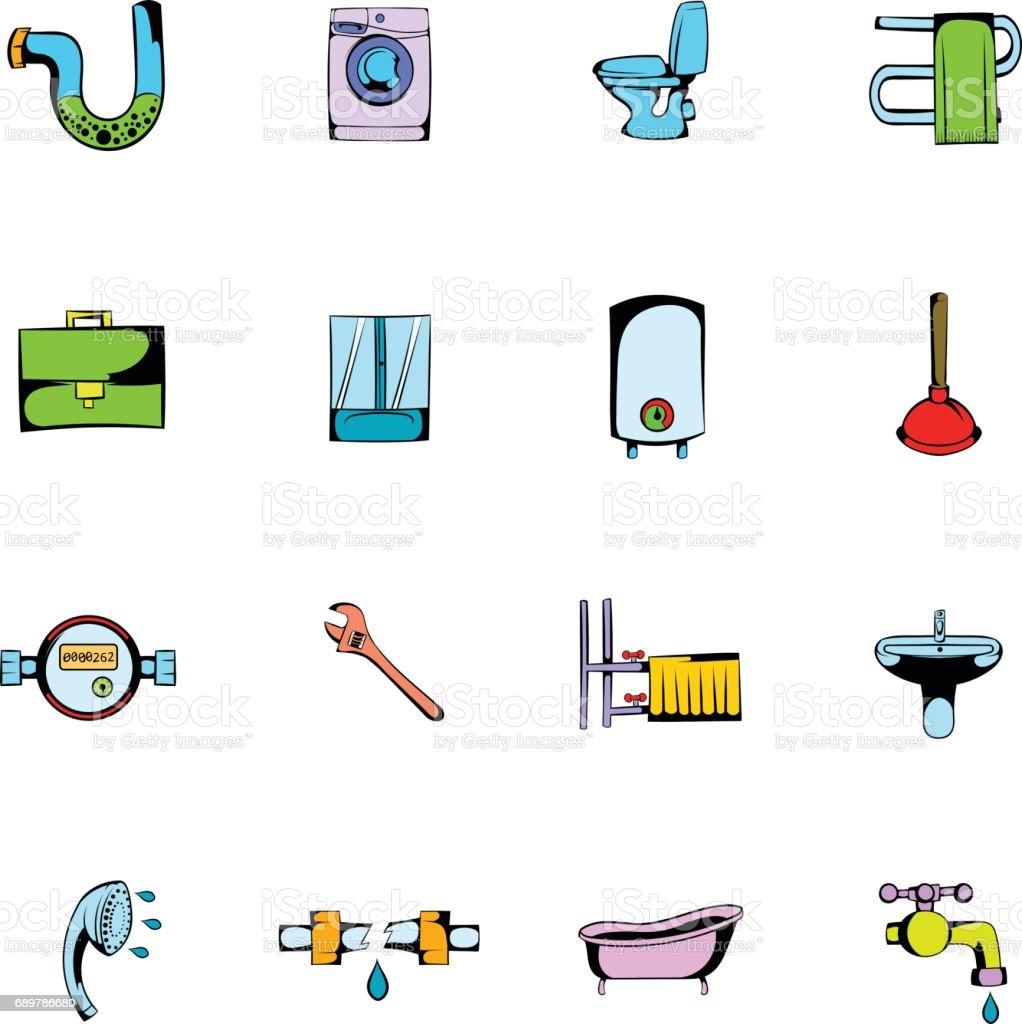 Sanitärtechnik Comic Icons Set Cartoon Stock Vektor Art Und Mehr