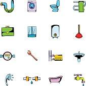 Sanitary engineering comics icons set cartoon