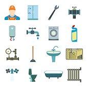 Sanitary engineering flat icons