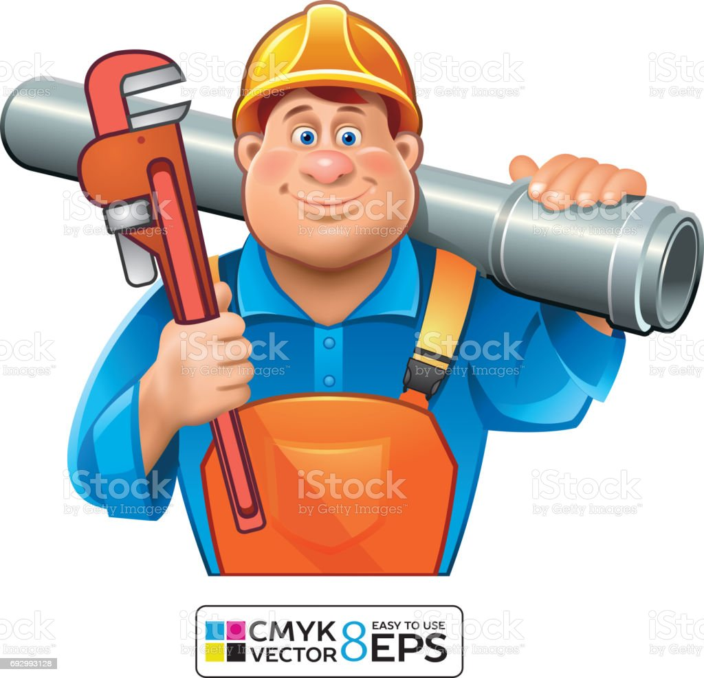 Sanitary Technician- Plumber man vector art illustration