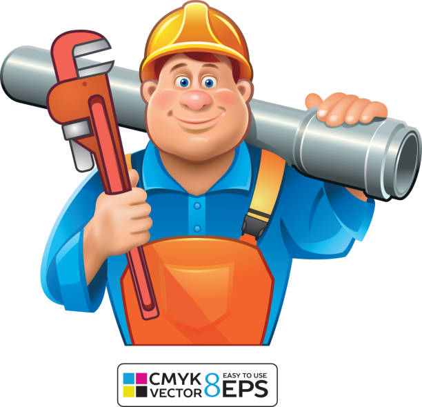 Sanitary Technician- Plumber man sanitary technician with tube and wrench, pipefitter illustrations stock illustrations