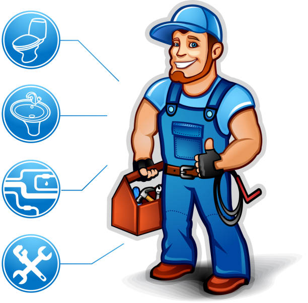 Sanitary Technician thumb up Sanitary Technician thumb up in blue overalls holding a toolbox. 10 EPS. pipefitter illustrations stock illustrations