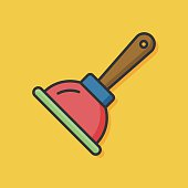 sanitary vector plunger icon