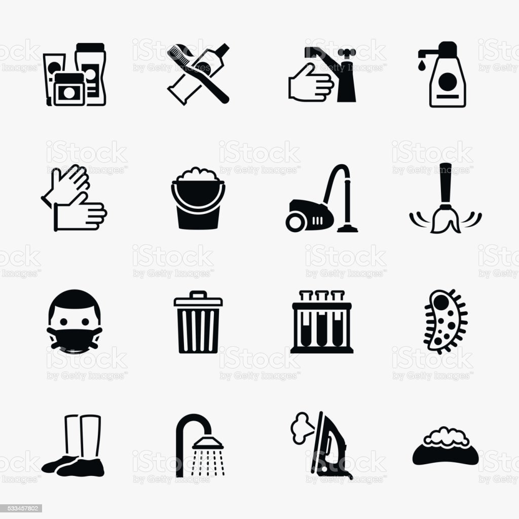 Sanitation and health vector flat icons set vector art illustration