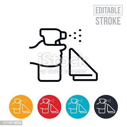 An icon of a hand spraying a disinfectant cleaner and a rag for wiping. The icon includes editable strokes or outlines using the EPS vector file.