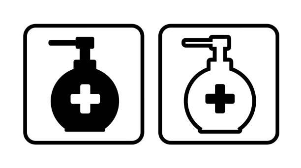 sanitise icon on white background sanitise icon on white background rubbing alcohol stock illustrations