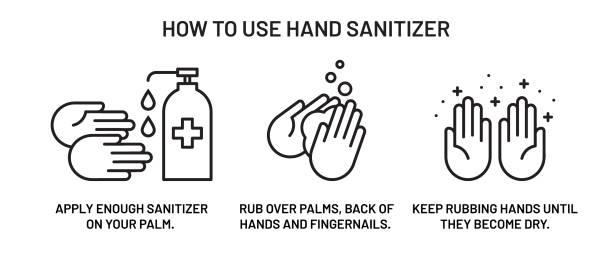 ilustraciones, imágenes clip art, dibujos animados e iconos de stock de manos desinfectantes - hand sanitizer