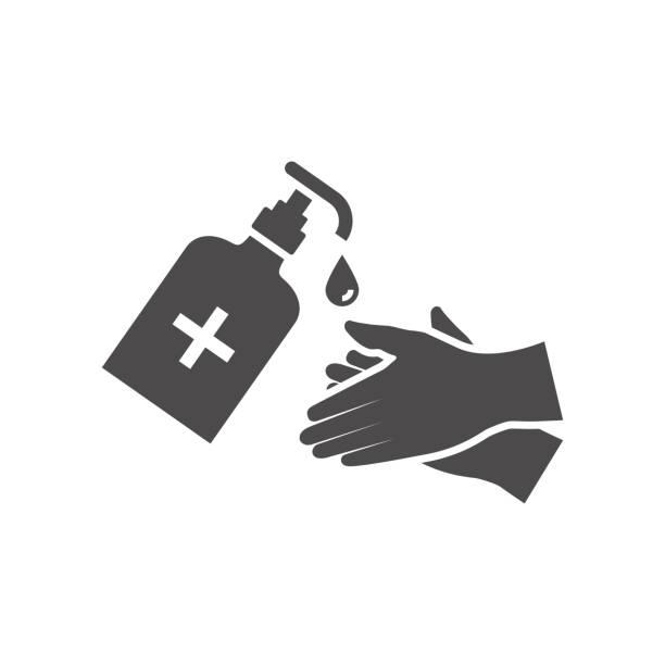 ilustraciones, imágenes clip art, dibujos animados e iconos de stock de desinfecte el icono de tus manos en estilo plano. ilustración vectorial. - hand sanitizer