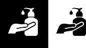 Sanitizer Liquid Hand Soap Icon. This 100% royalty free vector illustration is featuring the square button and the main icon is depicted in black and in white with a black icon on it.