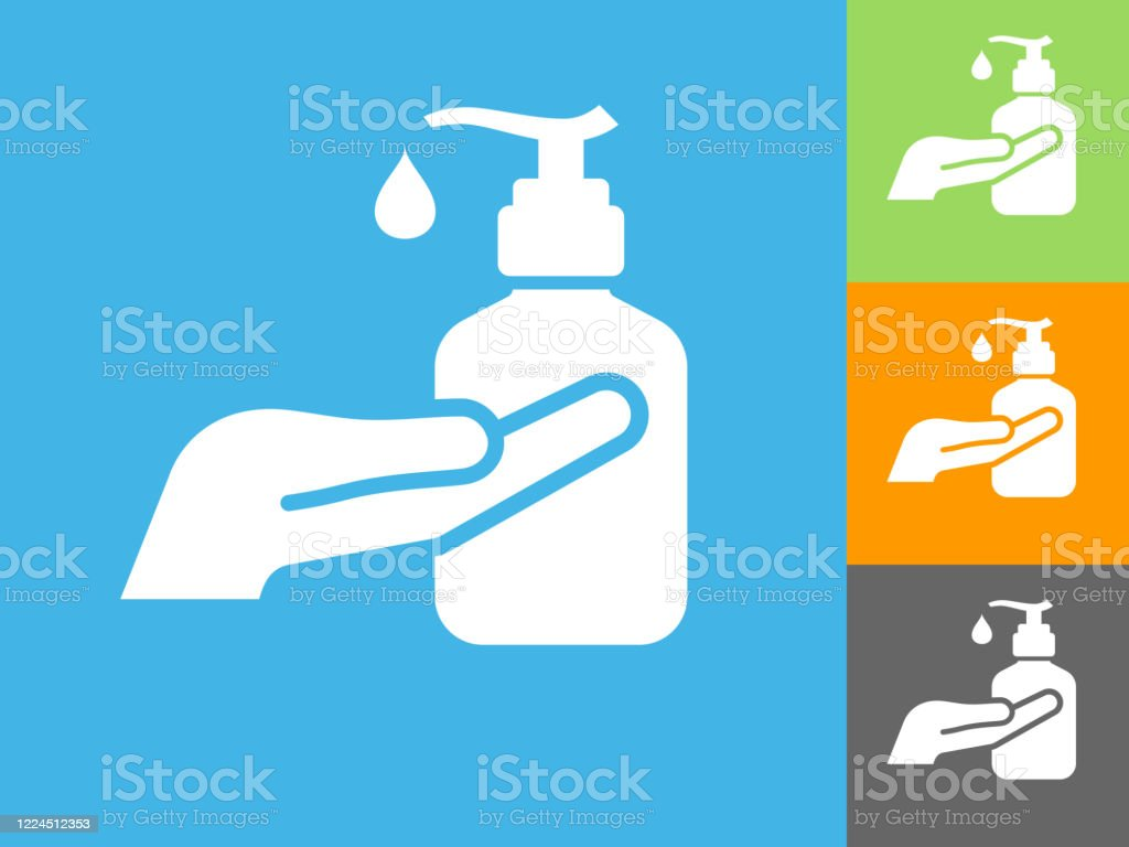 소독제 액체 손 비누 아이콘 - 로열티 프리 COVID-19 벡터 아트