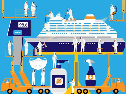 Sanitizing cruise ship