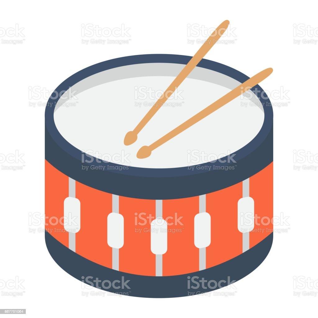Icône plate SANRE tambour, musique et instrument, signe des graphiques vectoriels, un modèle solid coloré sur fond blanc, eps 10 a battu. - Illustration vectorielle