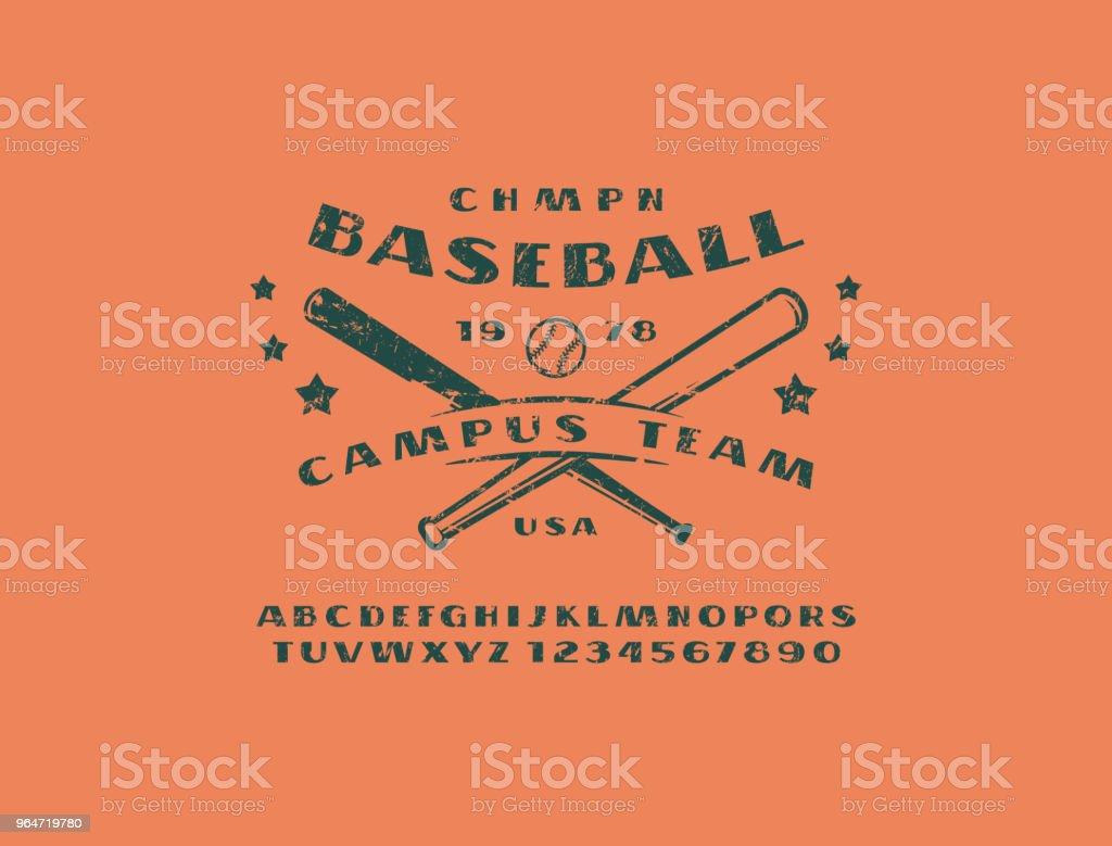 Sans serif font and emblem of baseball team royalty-free sans serif font and emblem of baseball team stock vector art & more images of alphabet