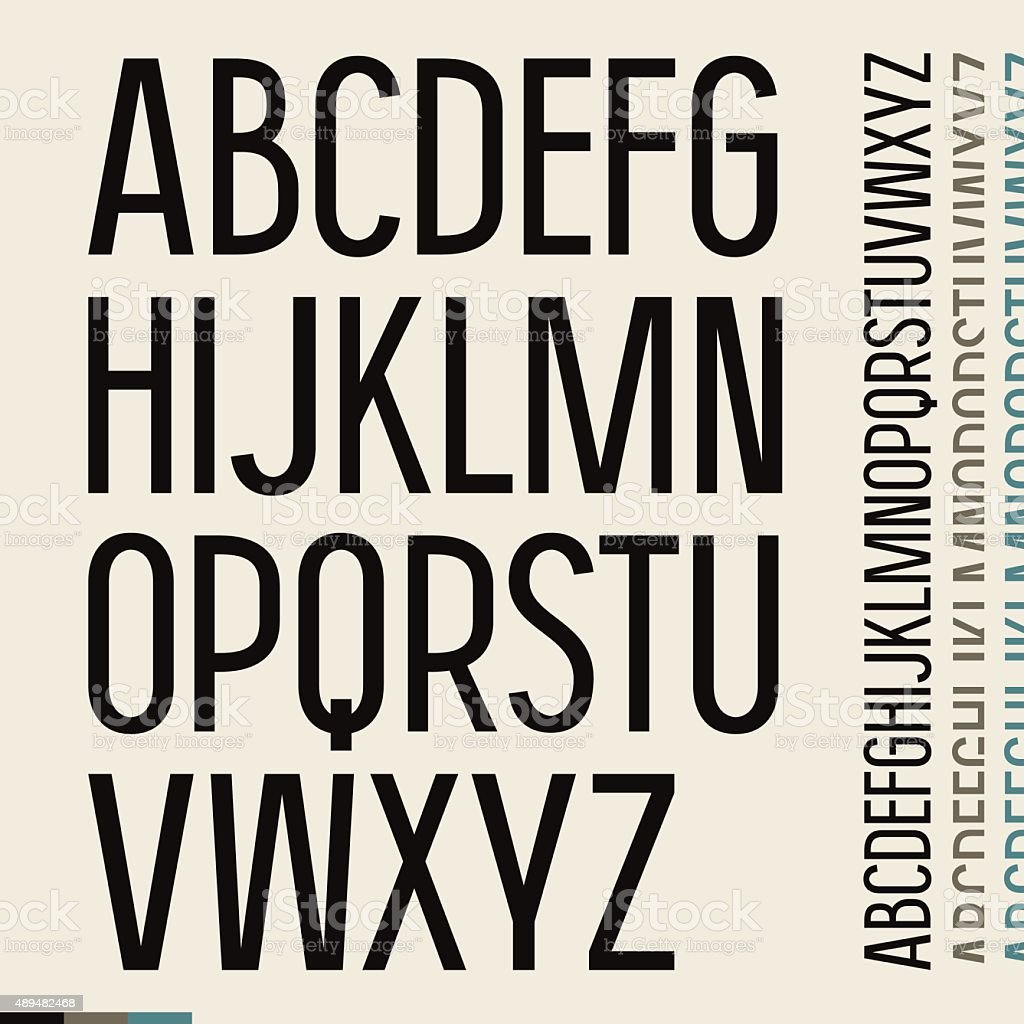 Sans serif font in newspaper style vector art illustration