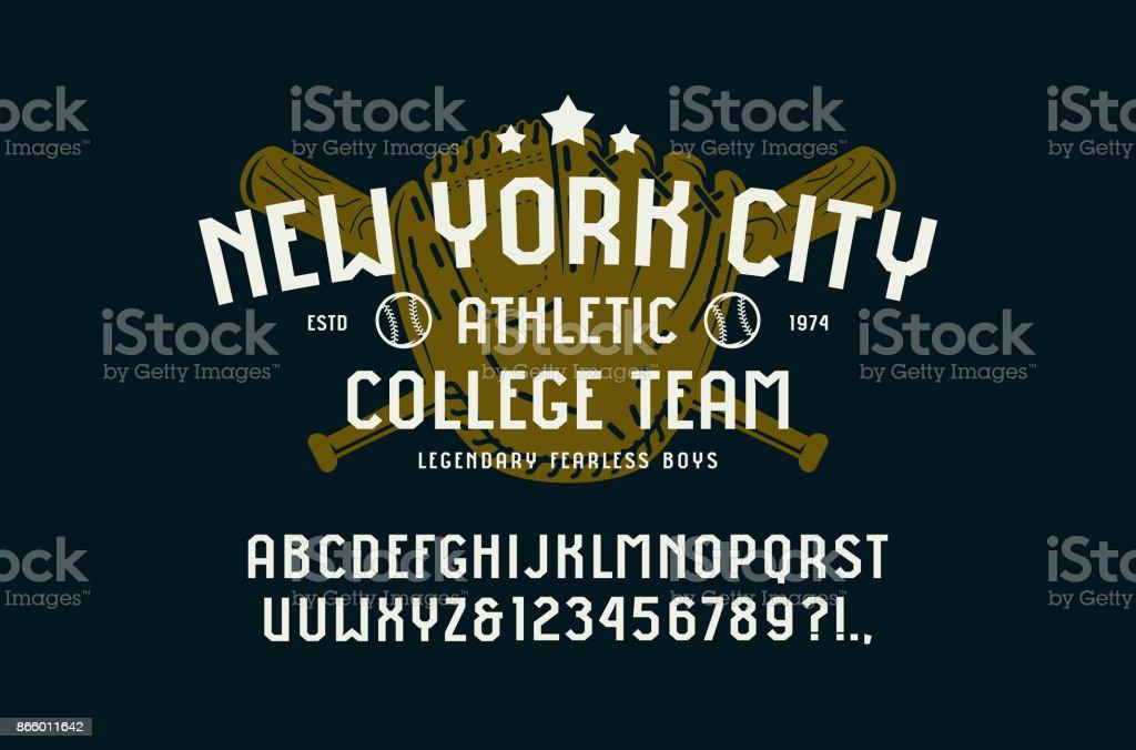 Sans serif font in the sport style and baseball badge for t-shirt vector art illustration
