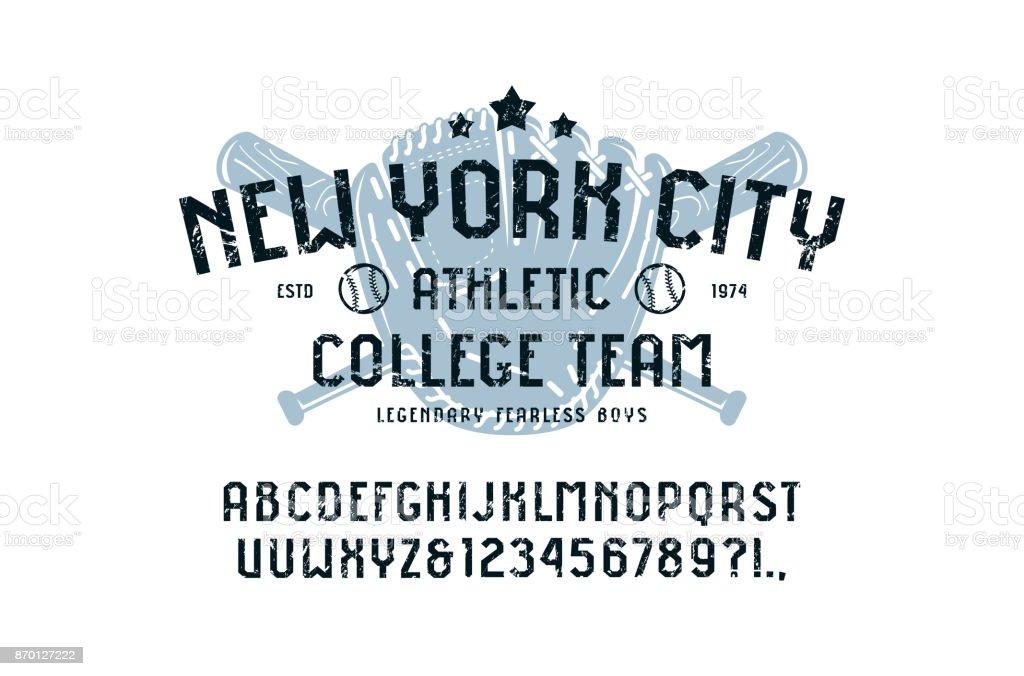 Sans Serif-Schriftart in der Sport-Stil und Baseball-Abzeichen für t-shirt – Vektorgrafik