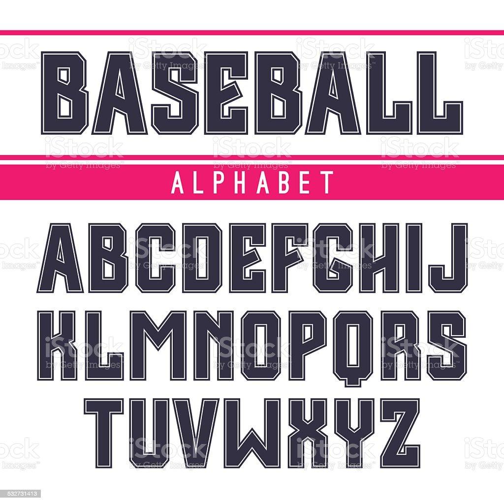 Sans serif font in the sport style vector art illustration